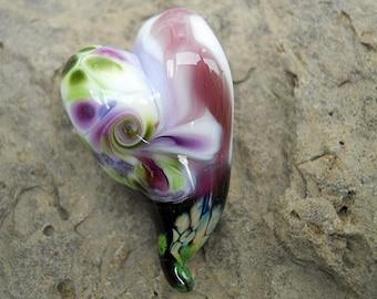 Purple & green glass heart bead pendant necklace, love Lampwork focal bead, ready to wear jewelry, love totem necklace, SRAJD art glass