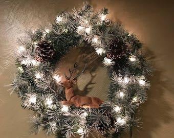 """18"""" Pre Lit Flocked Christmas Wreath w/ Deer"""