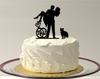 MADE In USA, Add Your Cat Personalized Cute Wedding Cake Topper with Your Family Last Name Silhouette Cake Topper Bride + Groom + Pet Cat