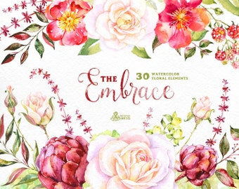 The Embrace. 30 Watercolor floral Elements, flowers clipart, roses, wedding invitation, greeting card, diy clip art, romantic, christmas
