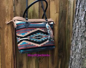 Saddle Blanket Bag, Navajo blanket, Tan Saddle blanket bag, Western Leather Fringe Bag, Large Southwestern tote, Long Leather Fringe