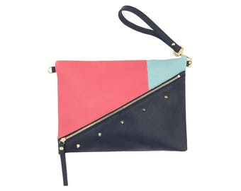 Cover Bordeaux leather Navy pink turquoise