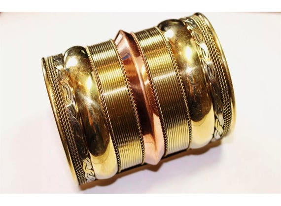 Tall Vintage Mixed Metal Shiny Cuff Bracelet