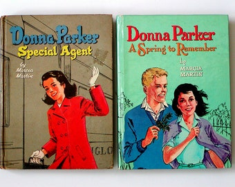 2* DONNA PARKER Fiction Books Special Agent &  A Spring To Remember '57/'60 Marcia Martin Girls' Vintage Reading Hardcover Whitman