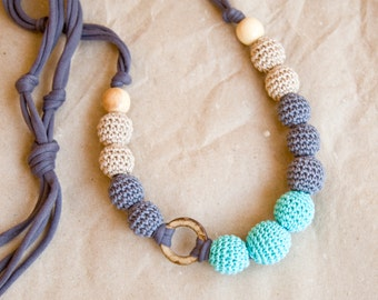 Nursing necklace  - Sling Accessory - breastfeeding necklace - Crochet Jewelry for New Moms - coconut ring