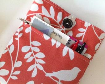 iPad Sleeve, iPad Case, iPad Cover, iPad Air Case - Padded BONUS Zippered Front Pocket (Coral Leaf Pattern)