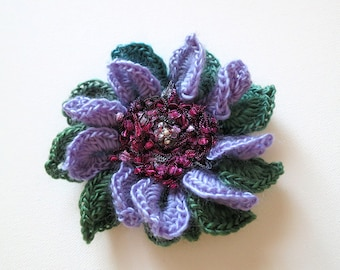FREE US SHIPPING - Lilac Purple Lavender Violet Green Teal Magenta Color Crochet Statement Flower Brooch Hat Hair Shawl Scarf Pin