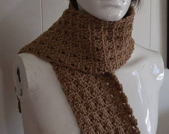 Tan Cable Crochet Scarf