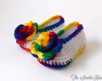 Rainbow Baby Shoes. Rainbow Booties. Crochet Baby Booties. Handmade Baby Shoes. Made to Order.