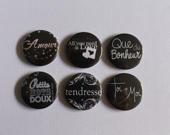 """BADGES """"Amour"""", handmade, (flat back) scrapbooking embellishment, brooch (PIN back), magnet (magnetic back)"""