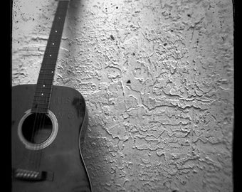 My Guitar Gently Weeps Photograph Black and White Vintage Musical Instrument Print Guitar Player