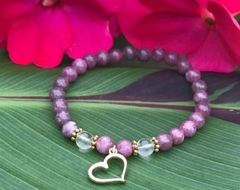 """""""Golden Heart"""" bracelet (lepidolite)"""