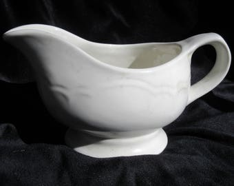 heavy porcelain gravy boat, creamer,very white ironstone, 1800's vintage, victorian, edwardian, excellent condition, embossed, sculptural