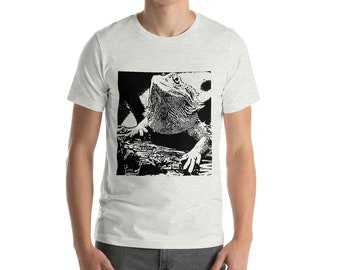 Bearded Dragon Lizard Black Pattern Graphic Animal Print Short-Sleeve Unisex T-Shirt, Great Gift Idea For Reptile Lovers