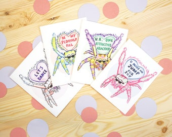 Jumping Spider Valentine's Day Cards, Set of 4