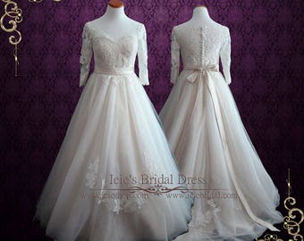 Princess Ball Gown Wedding Dress with Sleeves | Charlotte