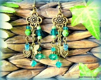 Boho Earrings; Blue Green Earrings; Hippie Earrings; Bohemian Earrings; Chandelier Earrings; Gypsy Earrings; Bead Earrings; Australia Seller