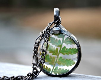 Terrarium, Real Fern Necklace, Fern Jewelry, Artisan Necklace, Terrarium Necklace, Fern Necklace, Gift for Nature Lover, Free Spirit (2714)