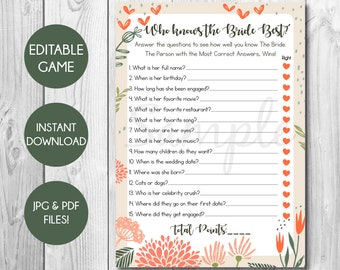 Editable Who knows the Bride Best Game, Editable PDF Game, Who Knows The Bride Best, Bridal Shower Game, Bridal Games, Instant Download
