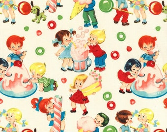 Michael Miller Fabric - Fifties Retro Candy Shop - Cream - Kids Novelty-Choose Your Cut