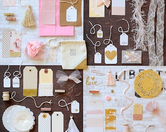 Gift Wrap Kit, Pink Gold, Paper Kit, Embellishment Kit, Gift Wrap, Pink Gold Gift Wrap, Pink Gold Kit, Blush Pink, Wedding Wrap