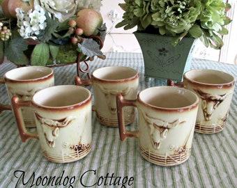 Set of Five McCoy El Rancho Coffee Cups/Mugs - RARE - Circa 1960's - Western Theme