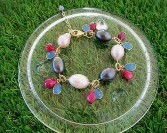 fresh water pearl with ruby and topaz bracelet