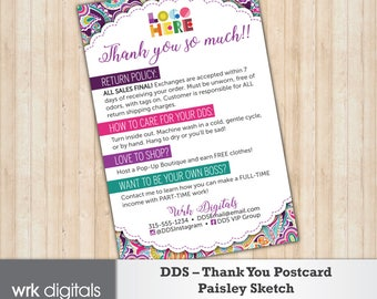 Dot Dot Smile Thank You Card, Care Card, Paisley Sketch Design, Customized Design, Direct Sales, Fashion Consultant