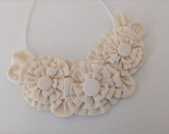 Bib Necklace with White Fabric Flowers and Covered Button Centers