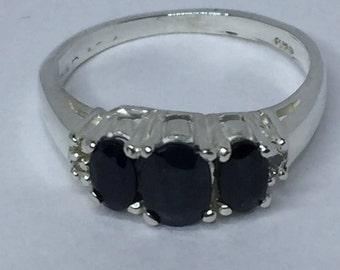 Sapphire Ring, Dark Sapphire Ring, Blue Sapphire Ring, Sapphire Rings, September Birthstone, Sterling Silver Ring, Silver Sapphire Rings