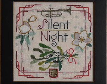 TELLIN EMBLEM Silent Night Christmas Carol counted cross stitch patterns INCLUDES embellishment at thecottageneedle.com Trumpet mistletoe