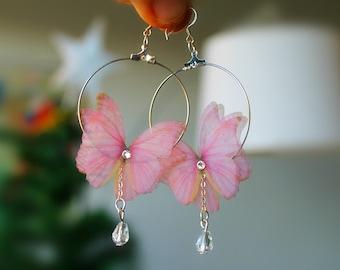 butterfly earrings butterfly Butterfly 925 silver wire crochet hoop earrings