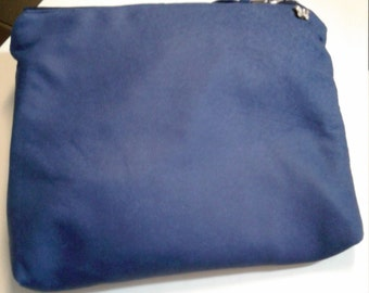 Blue leather pouch, 7.5 x 6 x 1, Leather Pouch, Pouch, Bag pouch, leather bag, Genuine Leather pouch, Leather make-up pouch, Leather Clutch