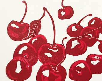 Always Cherry Season linocut print
