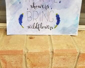 April Showers Bring Wildflowers watercolor