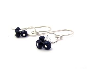 Delicate sapphire earrings,  sapphire cluster earrings, September birthstone jewelry, sterling silver gemstone earrings, dark blue earrings
