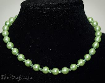 Pearl Set -- Necklace, Bracelet and Earrings  -- 12 mm  -- Apple Green