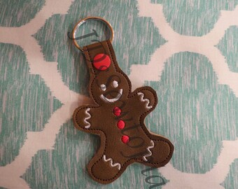 Gingerbread Man In-The-Hoop (ITH) Keychain Machine Embroidery Design 5x7 in 16 Formats