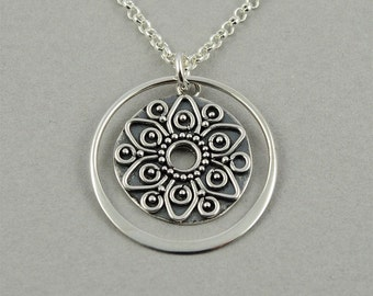Mandala Necklace - Silver Mandala Jewelry, buddhist jewelry, zen, boho necklace, yoga, boho jewelry