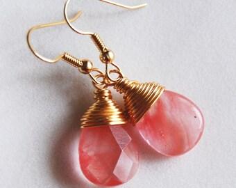 Pink Coral Earrings , Pink Gold Dangle Earrings , Cherry Quartz Earrings , Wire Wrapped Pink Earrings
