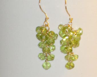 Faceted Peridot and Gold Dangling Cluster Earrings