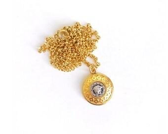 Vintage Mixed Metal Medusa Button Necklace