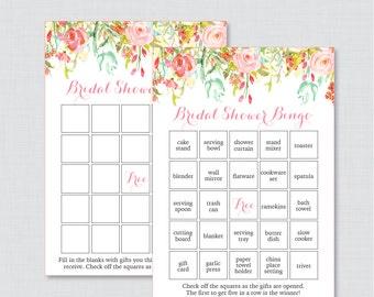 Pink and Gold Floral Bridal Shower Bingo Printable - 60 Unique Pre-filled Bingo Cards AND Blank Cards - Flower Garden Bridal Bingo 0004