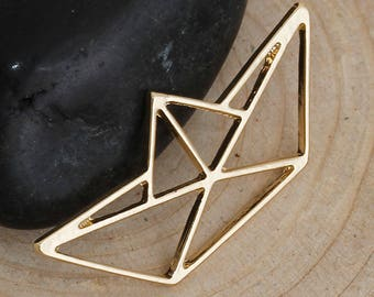 Origami boat charm gold 31x14mm hollow