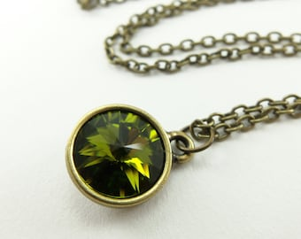 Green Crystal Necklace Olive Jewelry Antiqued Brass Rivoli Necklace Circle Pendant