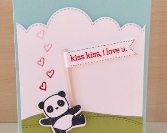 Panda Sending Kisses I Love You Card