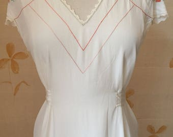 1920s vintage embroidered silk rayon nightgown