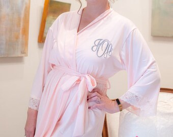 Lace robes for bridesmaids, Soft Jersey Robes, Lace Jersey Robe, Bridesmaid Robes Lace knit robes Set of BRIDESMAID ROBES, Lace Trim Robe,