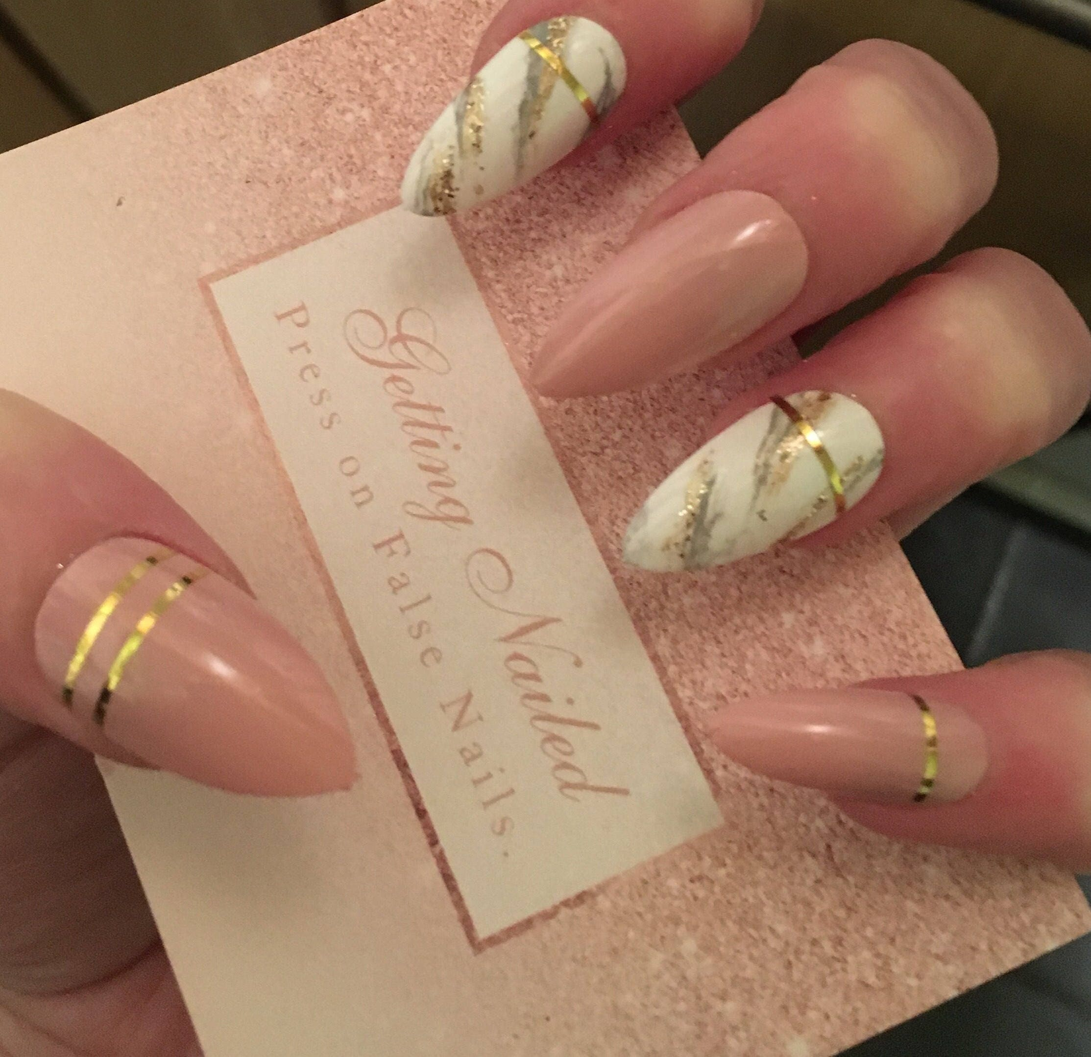 Pink nude nails light pink nails marble nails fake nails