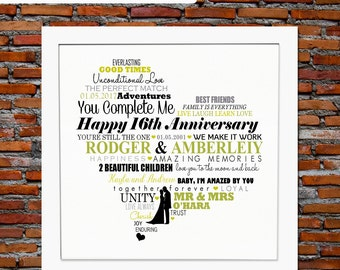 16th anniversary | Etsy